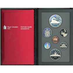 PROOF SET (CANADIAN) *1986* (7 COINS) *WALLET TYPE DISPLAY CASE*