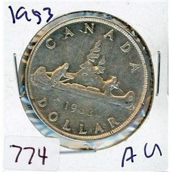 ONE DOLLAR COIN (CANADIAN) *1953* (SILVER)