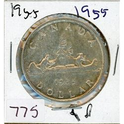 ONE DOLLAR COIN (CANADIAN) *1955* (SILVER)