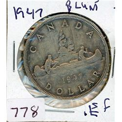 ONE DOLLAR COIN (CANADIAN) *1947* (SILVER)