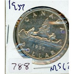 ONE DOLLAR COIN (CANADIAN) *1957* (SILVER)