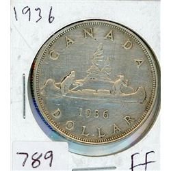 ONE DOLLAR COIN (CANADIAN) *1936* (SILVER)