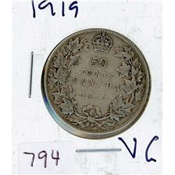 FIFTY CENT COIN (CANADIAN) *1919* (SILVER)