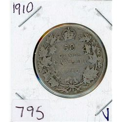 FIFTY CENT COIN (CANADIAN) *1910* (SILVER)