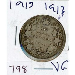 FIFTY CENT COIN (CANADIAN) *1913* (SILVER)