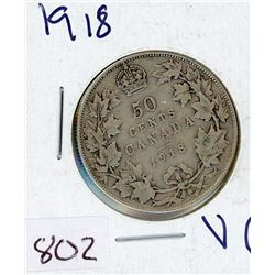 FIFTY CENT COIN (CANADIAN) *1918* (SILVER)