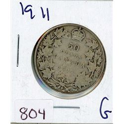 FIFTY CENT COIN (CANADIAN) *1911* (SILVER)