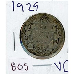 FIFTY CENT COIN (CANADIAN) *1929* (SILVER)