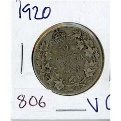 FIFTY CENT COIN (CANADIAN) *1920* (SILVER)