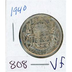 FIFTY CENT COIN (CANADIAN) *1940* (SILVER)