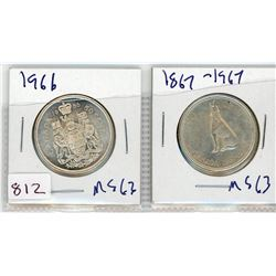 LOT OF 2-FIFTY CENT COINS (CANADIAN) *1966 & 1967* (SILVER)