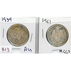 LOT OF 2-FIFTY CENT COINS (CANADIAN) *1959 & 1961* (SILVER)