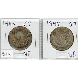 LOT OF 2-FIFTY CENT COINS (CANADIAN) *1937 & 1947* (SILVER)