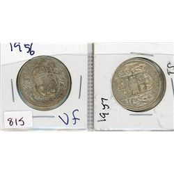 LOT OF 2-FIFTY CENT COINS (CANADIAN) *1956 & 1957* (SILVER)