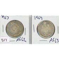 LOT OF 2-FIFTY CENT COINS (CANADIAN) *1963 & 1964* (SILVER)