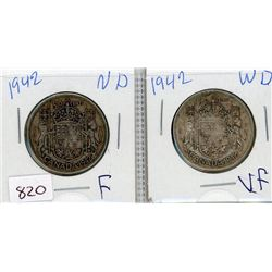 LOT OF 2-FIFTY CENT COINS (CANADIAN) *1942 WIDE DATE & 1942 NARROW DATE* (SILVER)