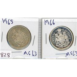 LOT OF 2-FIFTY CENT COINS (CANADIAN) *1965 & 1966* (SILVER)
