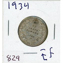 TWENTY FIVE CENT COIN (CANADIAN) *1934* (SILVER)
