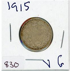 TWENTY FIVE CENT COIN (CANADIAN) *1915* (SILVER)