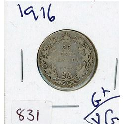 TWENTY FIVE CENT COIN (CANADIAN) *1916* (SILVER)