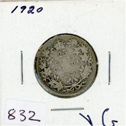 TWENTY FIVE CENT COIN (CANADIAN) *1920* (SILVER)