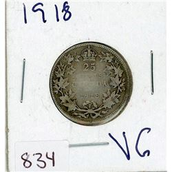 TWENTY FIVE CENT COIN (CANADIAN) *1918* (SILVER)