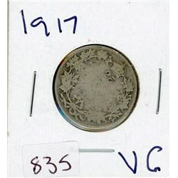 TWENTY FIVE CENT COIN (CANADIAN) *1917* (SILVER)