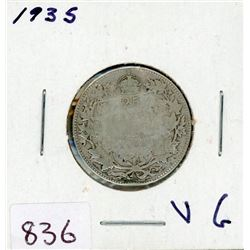 TWENTY FIVE CENT COIN (CANADIAN) *1935* (SILVER)