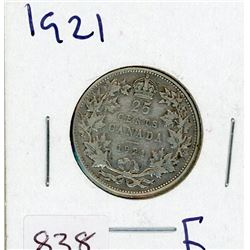 TWENTY FIVE CENT COIN (CANADIAN) *1921* (SILVER)