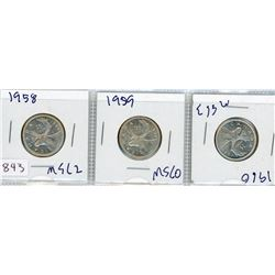 LOT OF 3 TWENTY FIVE CENT COINS (CANADIAN) *1958, 1959 & 1960* (SILVER)