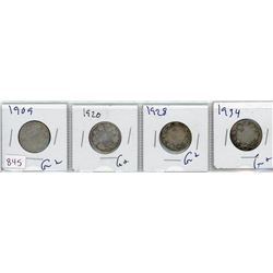 LOT OF 4-TWENTY FIVE CENT COINS (CANADIAN) *1909, 1920, 1928 & 1934* (SILVER)