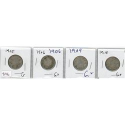 LOT OF 4-TWENTY FIVE CENT COINS (CANADIAN) *1905, 1906, 1909 & 1910* (SILVER)
