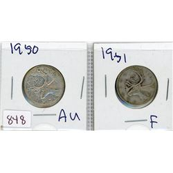 LOT OF 2-TWENTY FIVE CENT COINS (CANADIAN) *1950 & 1951* (SILVER)