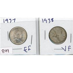 LOT OF 2-TWENTY FIVE CENT COINS (CANADIAN) *1937 & 1938* (SILVER)
