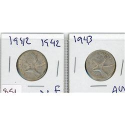 LOT OF 2-TWENTY FIVE CENT COINS (CANADIAN) *1942 & 1943* (SILVER)