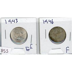 LOT OF 2-TWENTY FIVE CENT COINS (CANADIAN) *1943 & 1946* (SILVER)