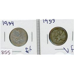 LOT OF 2-TWENTY FIVE CENT COINS (CANADIAN) *1954 & 1955* (SILVER)