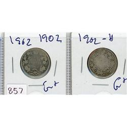 LOT OF 2-TWENTY FIVE CENT COINS (CANADIAN) *2 X 1902* (SILVER)