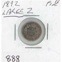 FIVE CENT COIN (CANADIAN) *1892* (SILVER) *LARGE*