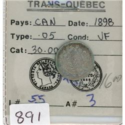 FIVE CENT COIN (CANADIAN) *1898* (SILVER)