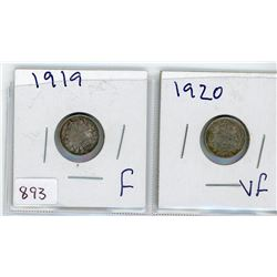 LOT OF 2-FIVE CENT COINS (CANADIAN) *1919 & 1920* (SILVER)