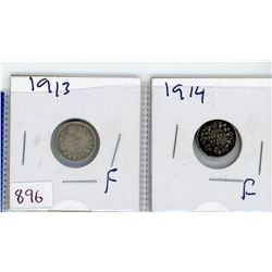 LOT OF 2-FIVE CENT COINS (CANADIAN) *1913 & 1914* (SILVER)