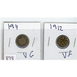 LOT OF 2-FIVE CENT COINS (CANADIAN) *1911 & 1912* (SILVER)