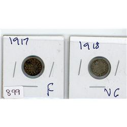 LOT OF 2-FIVE CENT COINS (CANDIAN) *1917 & 1918* (SILVER)