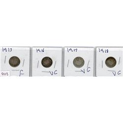 LOT OF 4-TEN CENT COINS (CANADIAN) *1913, 1916, 1917 & 1918* (SILVER)