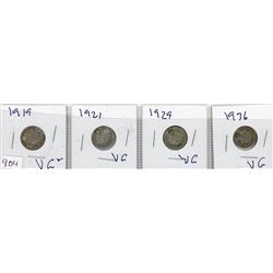 LOT OF 4-TEN CENT COINS (CANADIAN) *1919, 1921, 1929 & 1936* (SILVER)