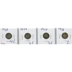 LOT OF 4-TEN CENT COINS (CANADIAN) *1933, 1934, 1935 & 1936* (SILVER)