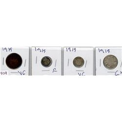 LOT OF 4 COINS (CANADIAN) *1919* (PENNY, NICKEL, DIME & QUARTER) *SILVER*