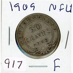 FIFTY CENT COIN (USA) *1909* (SILVER) *NEWFOUNDLAND*
