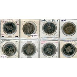LOT OF 8-ONE DOLLAR TOKENS (CANADIAN) *1975, 1976, 1977, 1979 X 2, 1978, 1982 X 2*